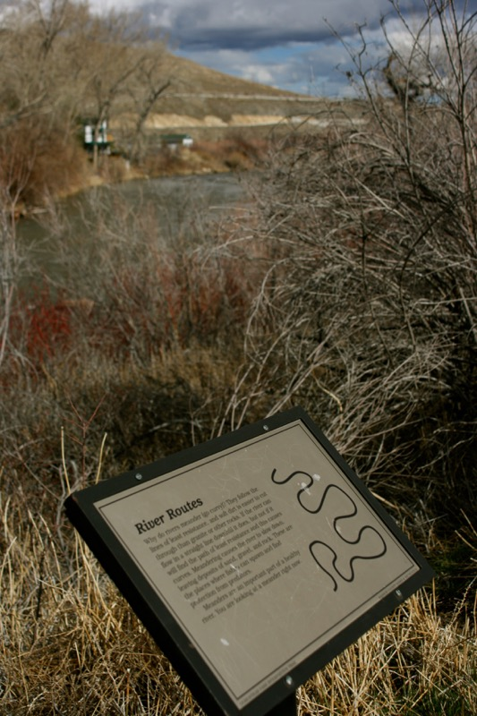 Interpretive sign on riverside trail in Dorostkar Park, Reno. Feb 2015.