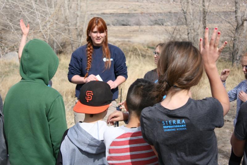 Jennifer Robinson answers questions at McCarran Ranch. Mar. 10, 2015.