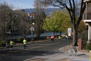 Runners in the Downtown River Run, Sunday April 12, 2015.