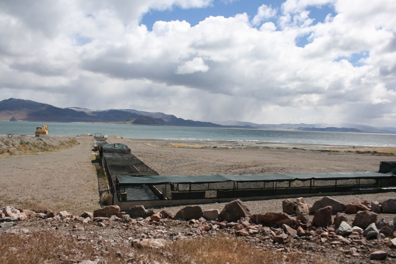The fish spawning channel at the Pyramid Lake Fisheries facility in Sutcliffe, NV. April 13, 2015.
