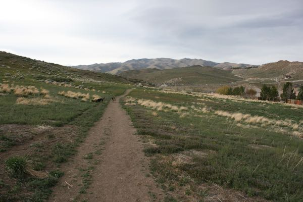 Heading west on the trail to the Last Chance Ditch diversion dam. April 6,