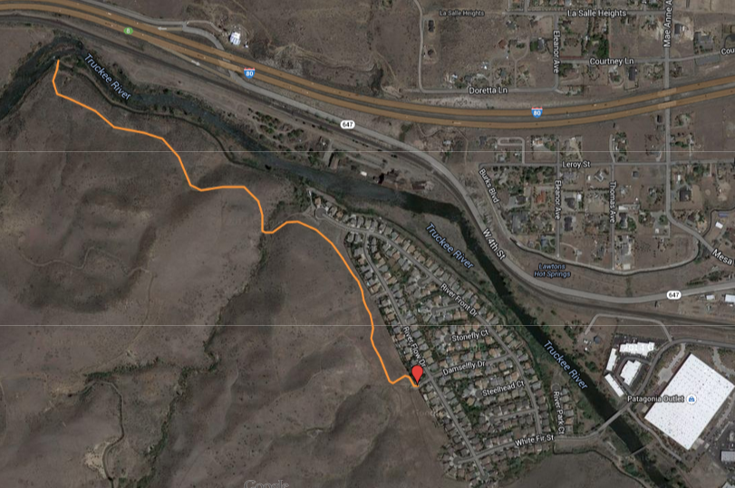 The trail to the Last Chance Ditch diversion dam begins at the end of Damselfly Drive, Reno.