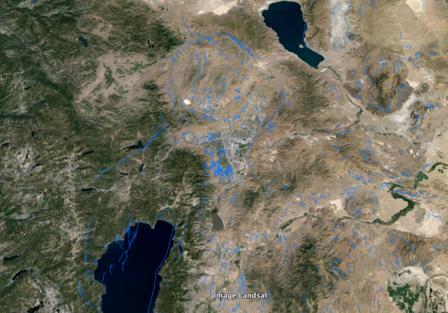 Quaternary fault lines of the Truckee River region. Image from Google Earth.