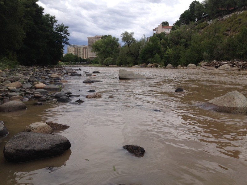 Looking downstream toward downtown Reno, July 8, 2015.