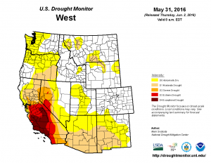 U.S. Drought Monitor map of the Western U.S., May 31, 2016. The Truckee River region is in D2 drought.
